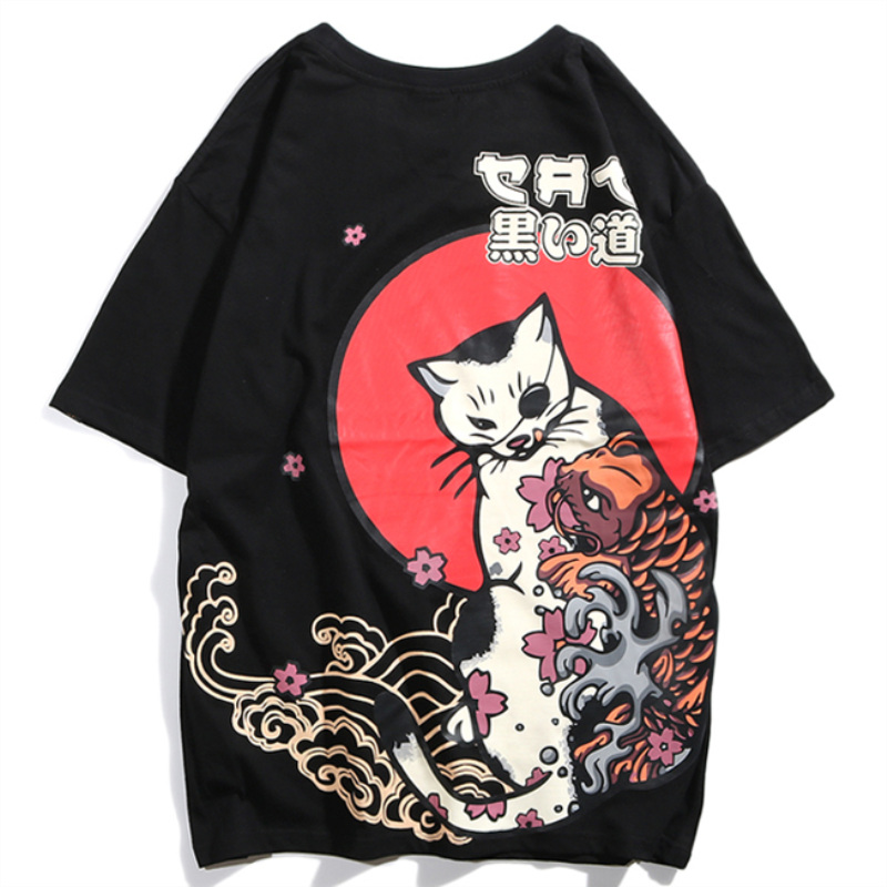 THREE-Y 2019 Japanese Harajuku Cat Casual Tees Mens Hip Hop Tee-Shirt Fat Streetwear Male Short Sleeve Tops Printed Unisex