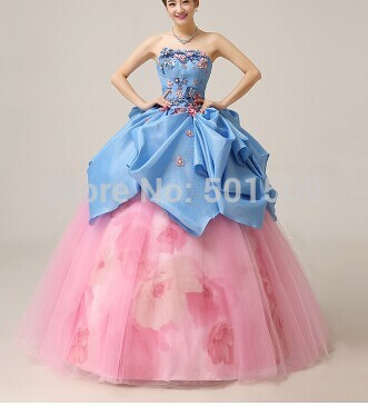 blue floral font b pink b font flower medieval font b dress b font Renaissance Gown