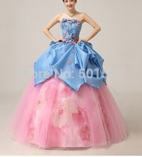 blue floral pink flower medieval dress Renaissance Gown princess cosplayVictorian/Marie Antoinette bell ball gown