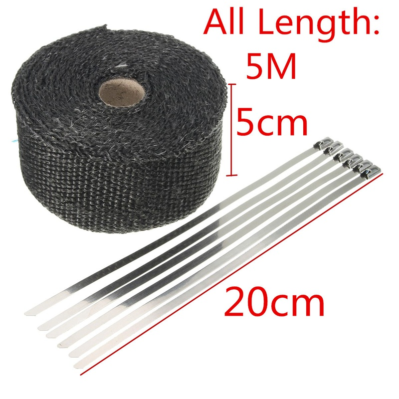 New Black 1.6mm x 5cm x 5m Roll Black Titanium Thermal Exhaust Header Pipe Heat Wrap Tape + Stainless Ties Kit With 6 Straps