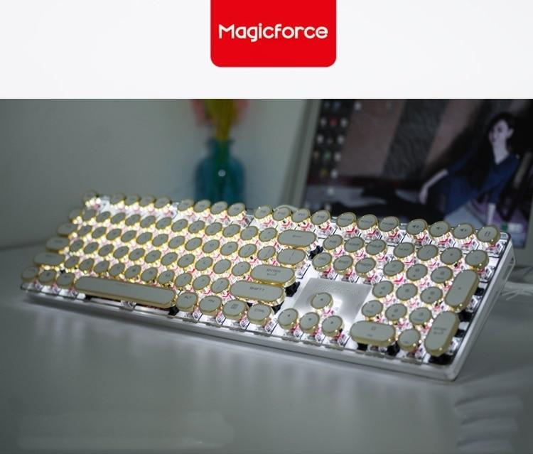 Magicforce Crystal 108 Key Vintage Typewriter Edition USB Wired Backlit Mechanical Game Keyboard ,Gateron  Switches Gold Keycaps