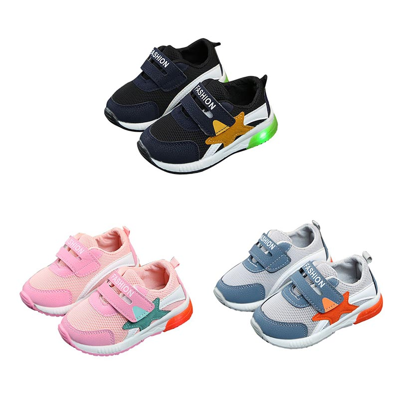 LED Baby Shoes 2018 Fashion Lights Soft Baby Girls Shoes First Walkers Movement LED Baby Boy Shoes Spring Classic Cotton
