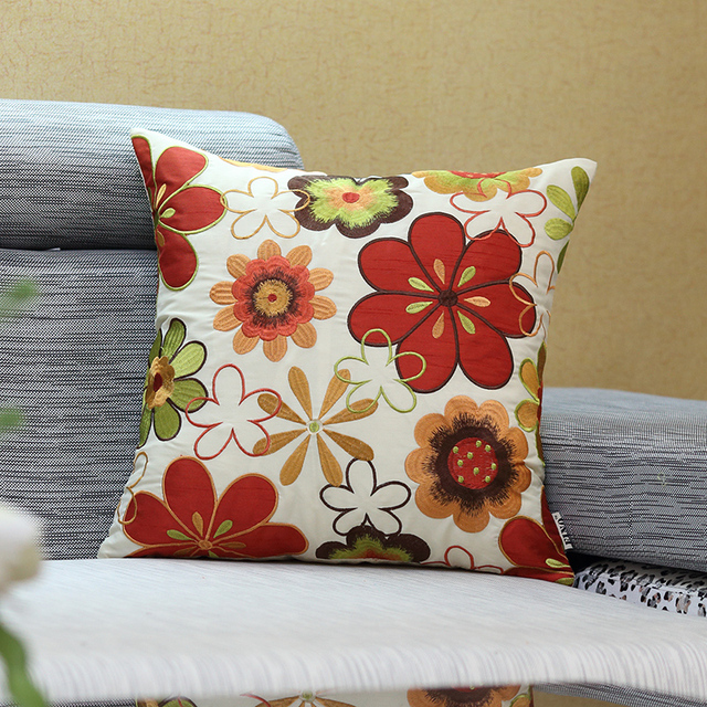 Embroidered Sofa Throw Pillow Covers Silk Sunflower Couch Decorative Pillow  Cases Red Rustic Country Home Decor