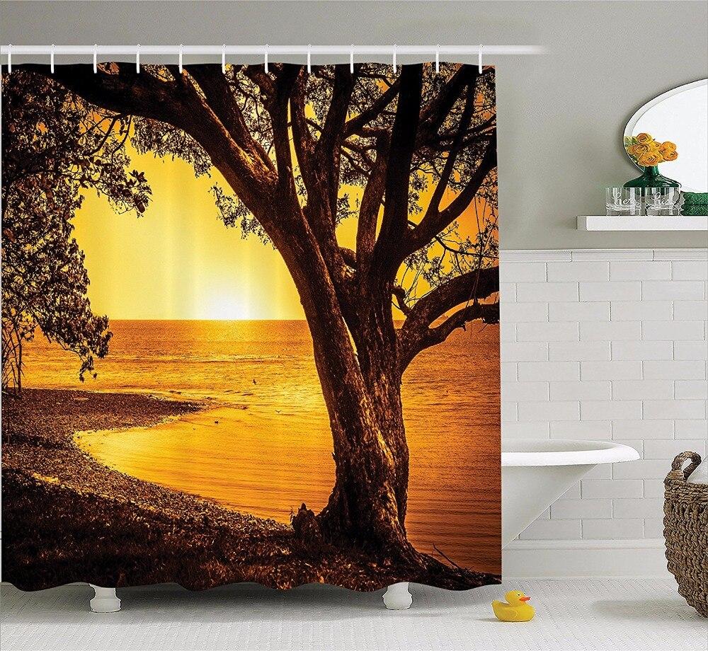 High Quality Arts Shower Curtains Lake sunset golden light tree Bathroom Decorative Modern Waterproof shower curtains
