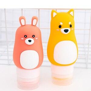 Image 3 - Animal portátil dos desenhos animados urso pinguim silicone caso de viagem organizador shampoo chuveiro gel loção armazenamento recarregável garrafa