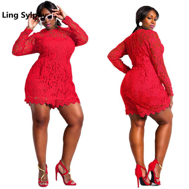 4187dbdfae9 Hot Sexy Plus Size Summer Women Playsuits Fashion Long Sleeved O Neck Casual  Red Loose Bodysuits Lace Jumpsuits L-3XL