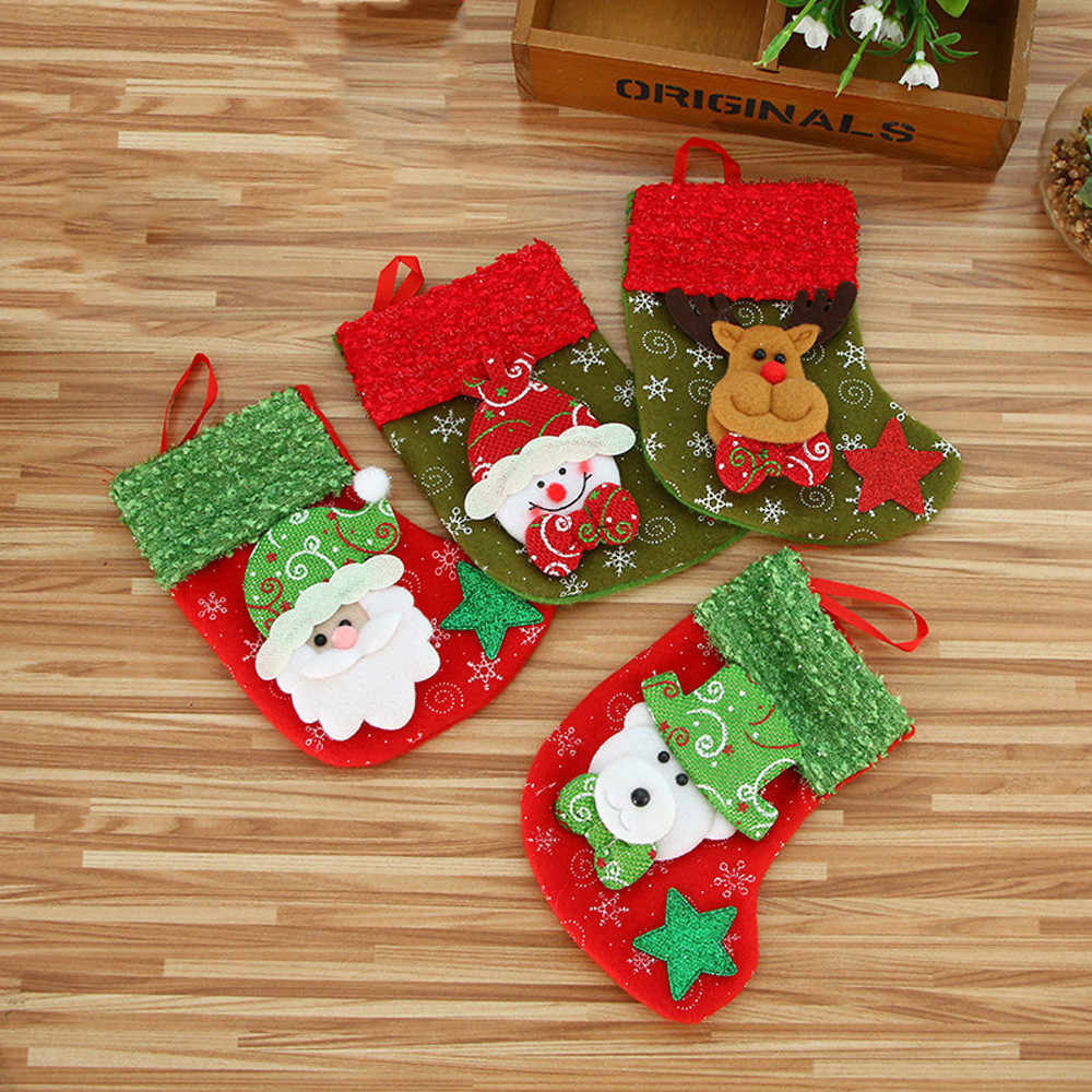 Christmas Stocking Mini Sock Santa Claus Candy Gift Bag Xmas Tree Hanging Decor Stockings Gift Holders Aliexpress