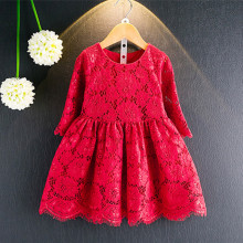 цена на DFXD New Arrival 2018 Spring Toddler Girl Princess Dress Soild Full Lace Three Quarter Sleeve Kids Dress Baby Costumes 2-8Years
