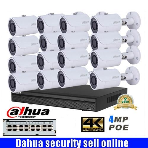 Dahua 16ch POE NVR4216-16p-4ks2 Network CCTV IP camera System with DAHUA DH-IPC-HFW1420S 4MP HD Bullet IR IP Camera IPC-HFW1420s free shipping dahua cctv camera 4k 8mp wdr ir mini bullet network camera ip67 with poe without logo ipc hfw4831e se