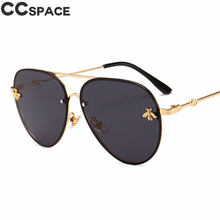 Luxury Bee 2018 Pilot Sunglasses Women Fashion Shades Metal Frame Vintage CCSPACE Brand Glasses Men Designer Male Female 46023(China)