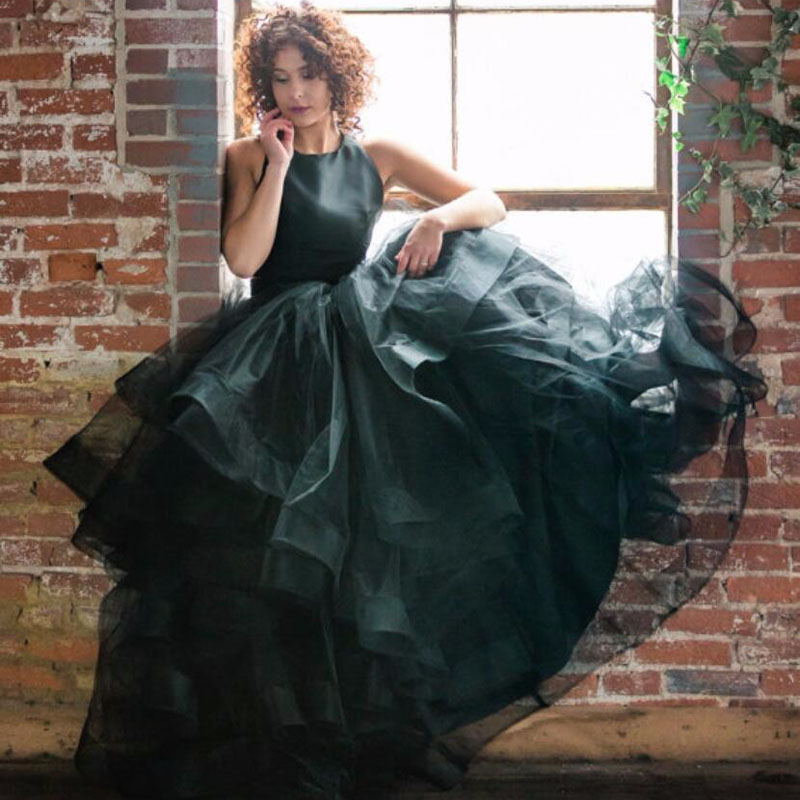 2017 New Gothic Black Long Skirt Super Puffy Ball Gown