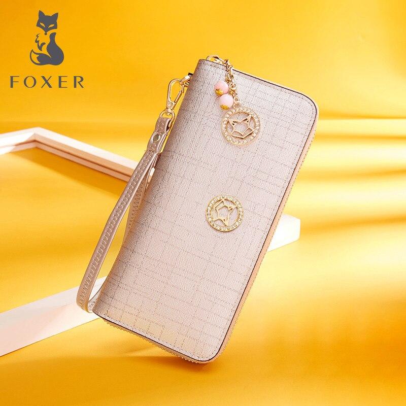 Foxer Marke Frauen Kuh Leder Geldbörse Einfache Geldbörsen Fashion Zipper Lange Geldbörsen Weibliche Kupplung Tasche