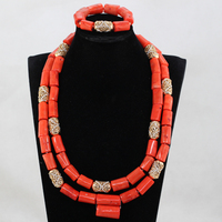 Quality Real Coral Men Bead Jewelry African Big Original Coral Beads Wedding Jewelry Set Groom Necklace Bracelet Set CG039