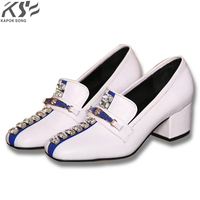 2018 Women Leather Shoes Metal Pearl Really Leather Shoes Fashional Genuine Leather Luxury Designer Comfortable Female