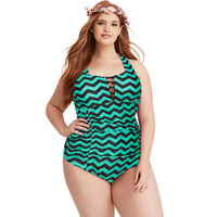2018 Newest Plus Size One Piece Swimsuit Push Up Striped Vintage Monokini Big Chest Ladies Beach