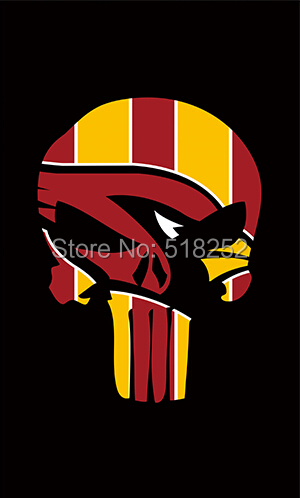 Arizona Cardinals Skull Vertical Flag 150X90CM NFL 3x5 FT Banner 100D Polyester Custom flag grommets 6038,free shipping