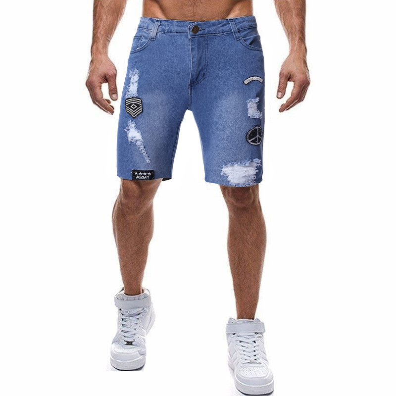 Summer 2019 New Men's Patchwork Hole Short   Jeans   Fashion Casual Slim Fit High Quality Elastic Denim Shorts Male Brand Clothes