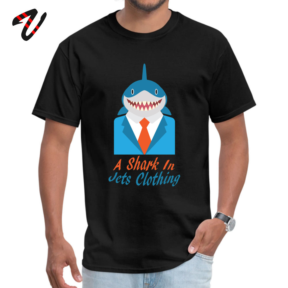 cosie Normal Short Sleeve Tops Shirt Summer O-Neck 100% Cotton Fabric Mens Top T-shirts Normal T Shirt Brand New A Shark In Jets Clothing 2375 black