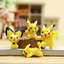 4Pcs/Set Pokemon Anime Products Pikachu Peppets Toys Decoration Action Figure Toy Kids Christmas Gift