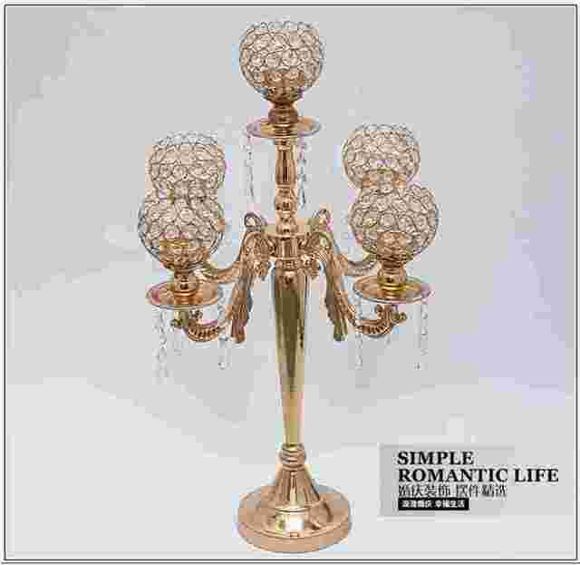 H65cm Fashion France Gold Candle Holders Crystal Tall For Wedding Centerpieces