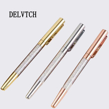 DELVTCH Cute Kawaii Diamond Metal Ballpoint Pen Luxury Rose Gold/Silver Crystal G Pens for Kids School Office Supplies