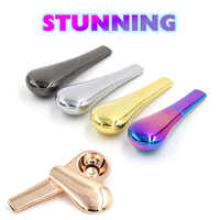 1pc Metal Spoon Smoking Pipe Portable Creative Herb Tobacco Cigarette Ignescent metal Pipe Metal Smoking Pipe With Pipe Screens