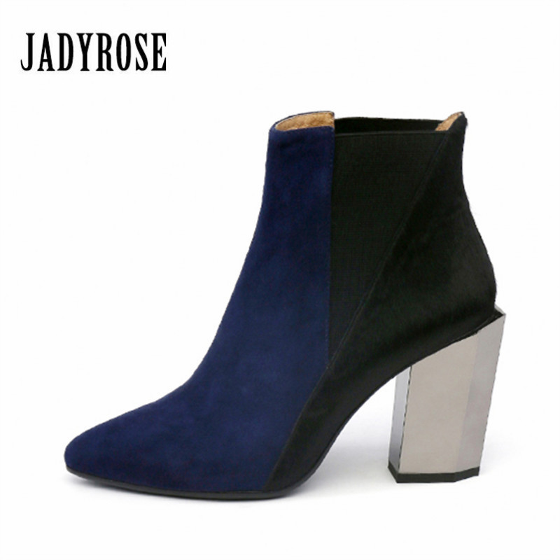 Jady Rose Patchwork Women Autumn Winter Ankle Boots Pointed Toe Chunky High Heel Chelsea Boots Horsehair Slip On Botas Mujer jady rose mixed color women ankle boots pointed toe chunky high heel booties suede lace up botas mujer women pumps