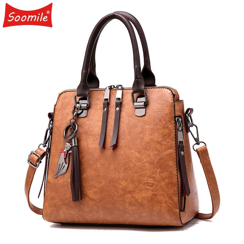 Soomile Cat Tassel Luxury Handbags Women Bags Designer Double Zipper Women Crossbody Bags Female Casual Tote Bag Ladies 2018