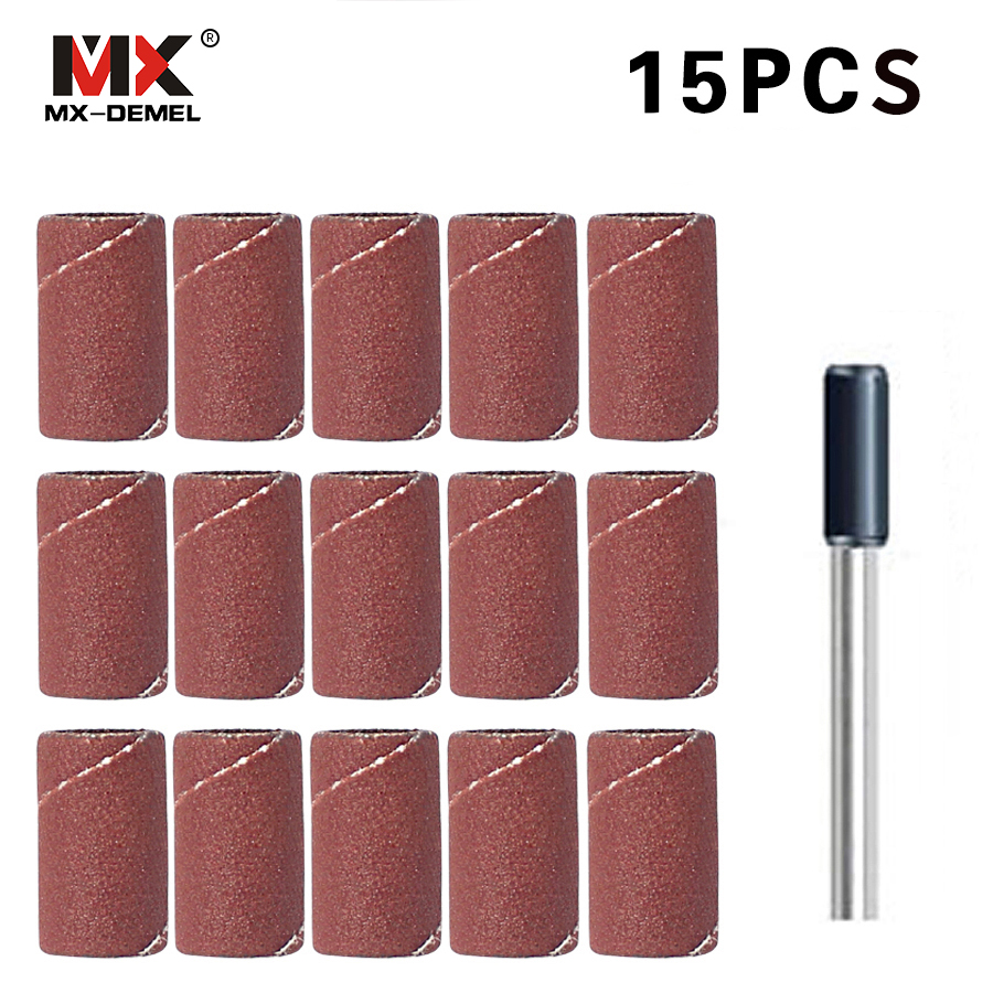MX-DEMEL 15 PCS Sanding Band 8.5mm with Drum Sander Dremel Accessories Fits for Dremel Rotary Tools Dremel mx demel high quality 17pcs 1 2 felt polishing wheels dremel accessories fits for dremel rotary tools dremel tools small