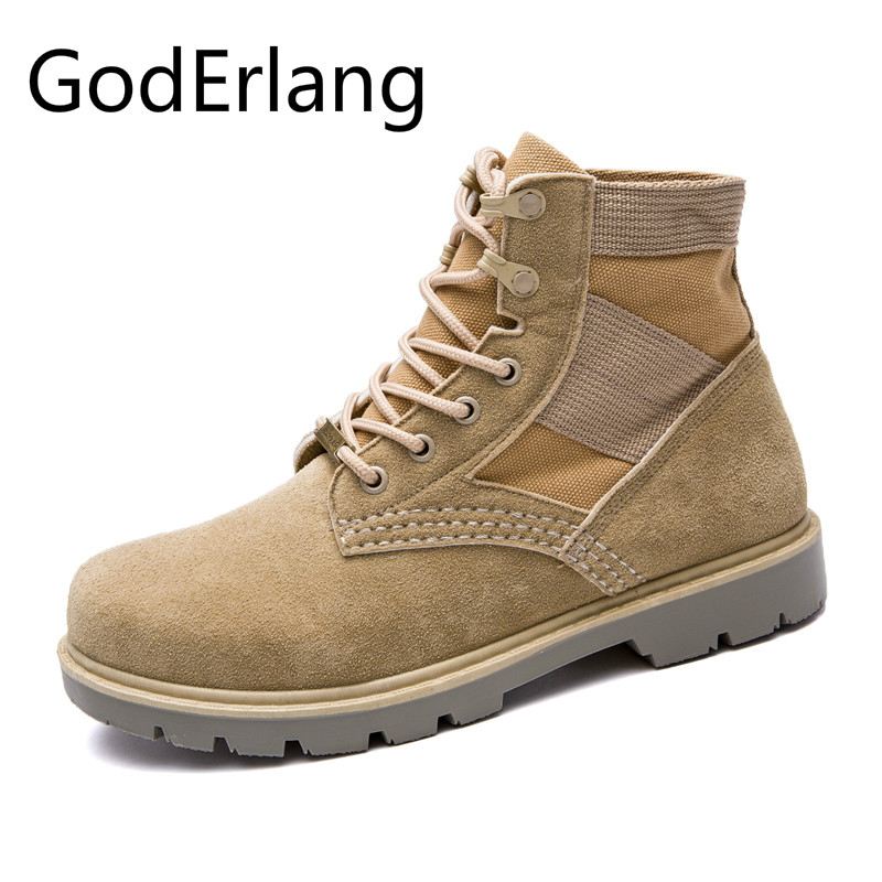 GodErlang Men Boots Army Boots Men Military Boots 2018 Hot Sale High Quality Fashion Black Yellow Men Casual Shoes Designer