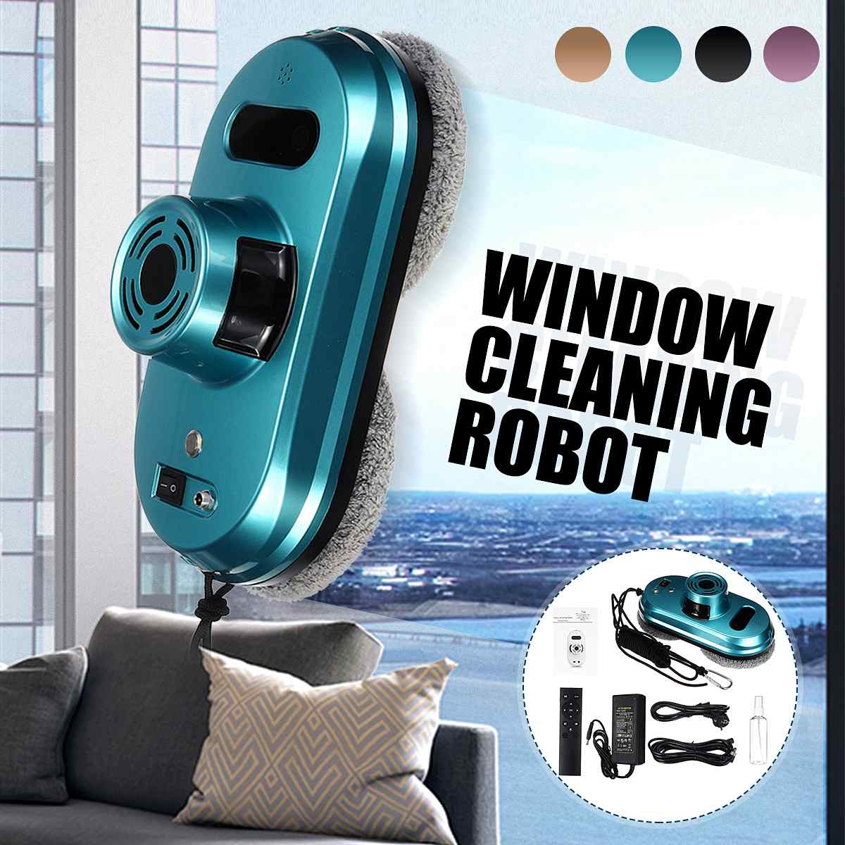 Window Cleaning Robot Window Robot Vacuum Cleaner Remote Control Magnetic Glass Cleaning Robot Framed Window Robot Cleaner Tool