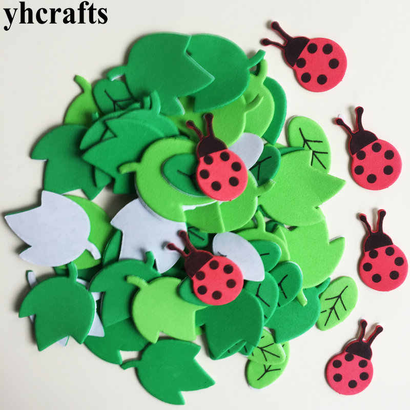 1bag(15-75PCS)/LOT.Ladybug leaves foam stickers Spring Easter crafts Early learning educational diy toys Kids room decoration
