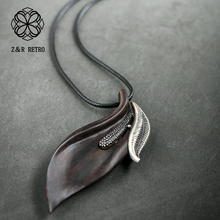 Leaves Sandalwood Handmade Women Pendant&Necklaces Rope Sweater Chain Wooden Necklace Women Fashion Jewelry Wholesale Present hocole new arrive sandalwood pendant necklace for women men vintage wooden necklace long rope chain necklace jewelry collares