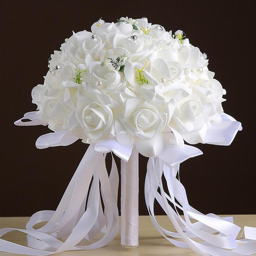 Bridal Bouquet Artificial Foam Roses Hand Flowers With Silk Ribbon