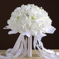 Bridal Bouquet Artificial Foam Roses Hand Flowers With Silk Ribbon Natural Pearl Wedding Bridesmaid Bouquet Decoration