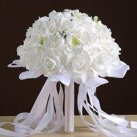 Buquê de noiva mão Flores com Fita de Seda Rosas De Espuma Artificial Bouquet Decoração de Casamento Da Dama de Honra de Pérolas Naturais Branco Vermelho