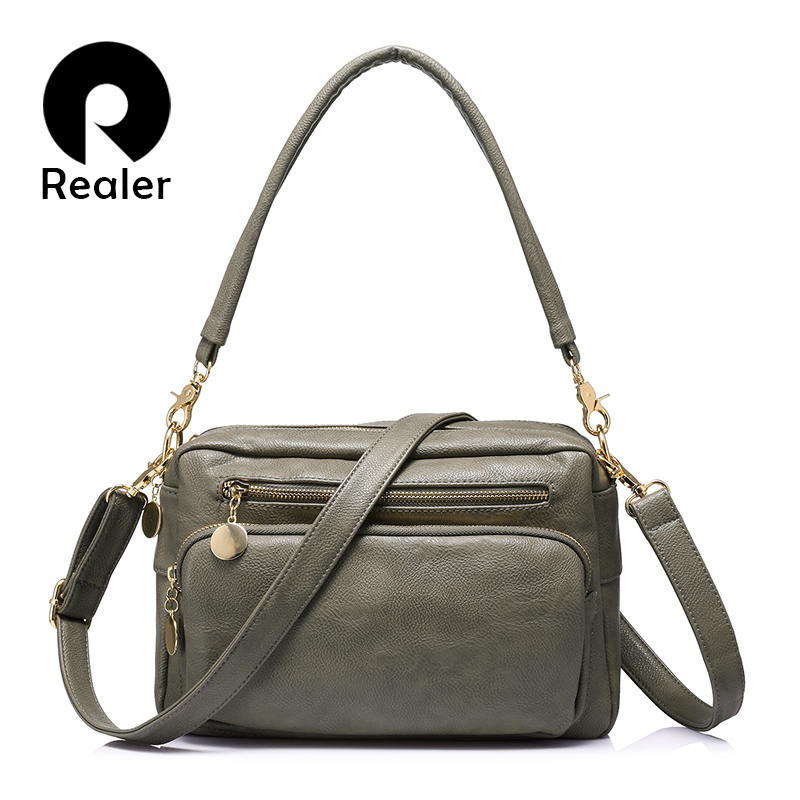 REALER Brand Fashion Women Shoulder Bags Female High Quality Tote Bag Ladies Double Zipper Messenger Bags Women Famous Brands