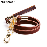 T MENG Genuine Leather Dog Leash Heavy Duty Strong Walking Training Leads Length 95cm For Medium
