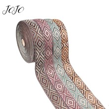 JOJO BOWS 35mm 5y Embroidery Ribbon Nationality Style Diamond Tape For Craft Needlework Material Home Textile Webbing Party Deco