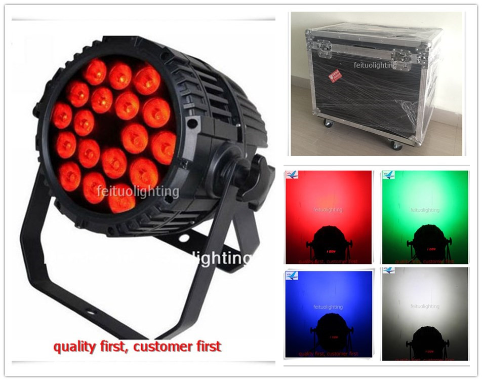 6pcs/lot flycase Outdoor LED Stage Light Par Can 18x10w RGBW 4in1 Waterproof IP65 Wash Pro Lighting for Disco DJ Party Wedding