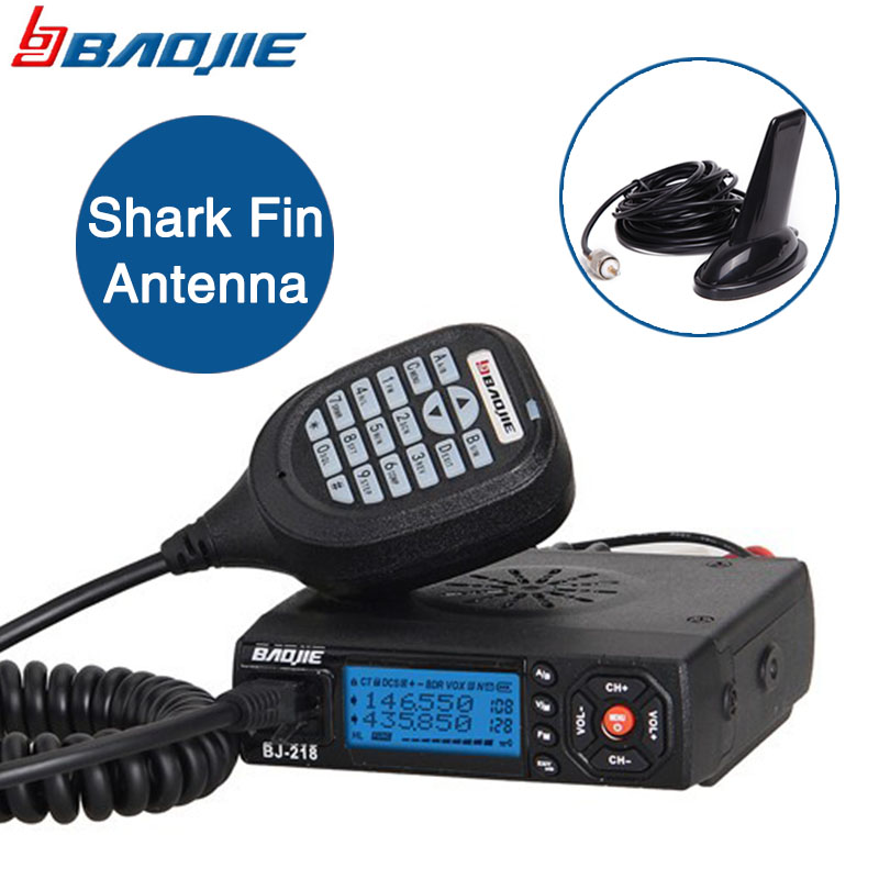 Baojie BJ 218 Mini Car Walkie Talkie 10KM 25W Dual Band VHF UHF 136 174mhz 400