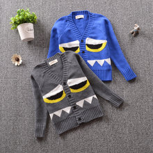 2018 INS Boys Girls Sweater Cardigans Toddler Boys V-Neck Warm Sweater Outerwear Fashion Pattern Knitwear Children's Clothing(China)