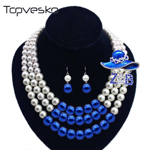 9924209bf277c4 Women Three Strands Zeta Bule beaded Pearl Necklace Earring Jewelry Set -in Jewelry  Sets from Jewelry & Accessories on Aliexpress.com | Alibaba Group