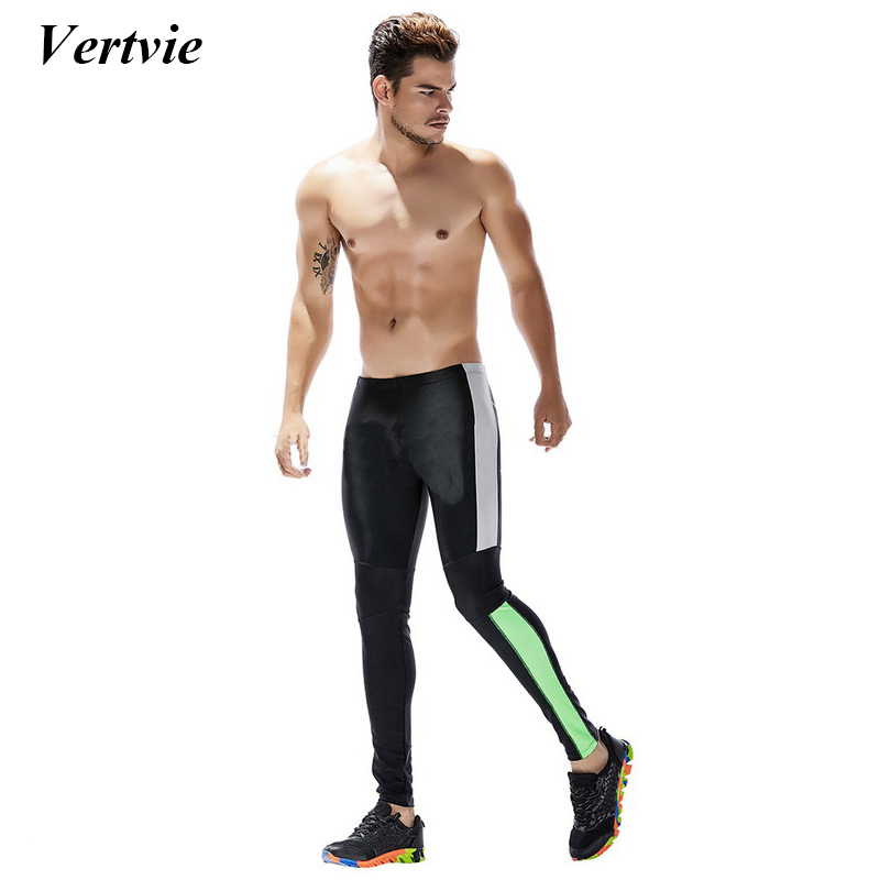 Vertvie Tranning Exercise Leggings Tights Men Running Fitness Pants Breathable Quick Dry Compression Tights Workout Pants