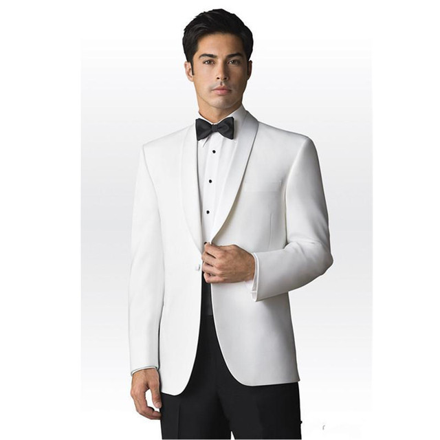 Aliexpress.com : Buy Tuxedos White Jacket black trousers Groomsmen ...