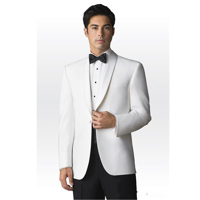 Tuxedos White Jacket black trousers Groomsmen Men Wedding font b Suits b font Prom Western style