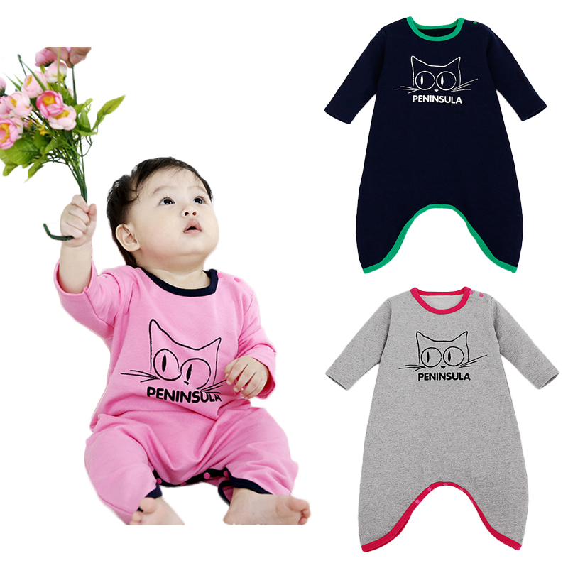 2017 Spring Cotton Baby Girls Boys Long Sleeve Romper Jumpsuit Cartoon Cat Kitty Newborn Bebe One-pieces Coverall 4pcs/lot puseky 2017 infant romper baby boys girls jumpsuit newborn bebe clothing hooded toddler baby clothes cute panda romper costumes