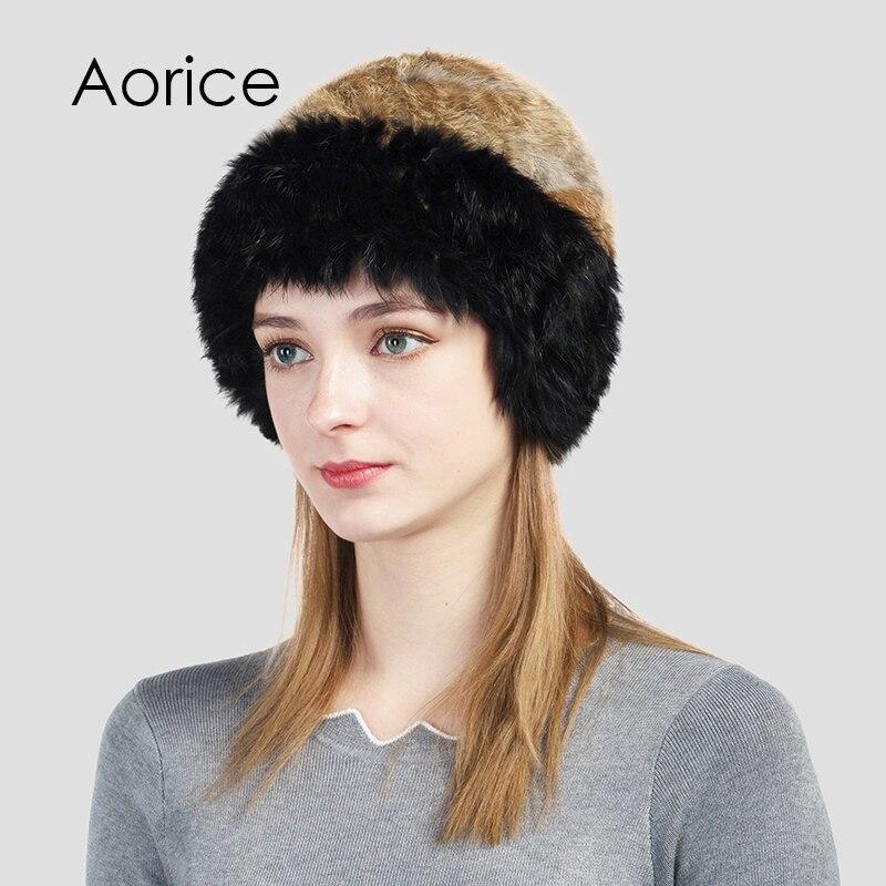 Aorice HF713 women real rabbit fur knit hat 2017 brand new winter warm real fur hats caps skulls beanies икона янтарная богородица скоропослушница иян 2 713