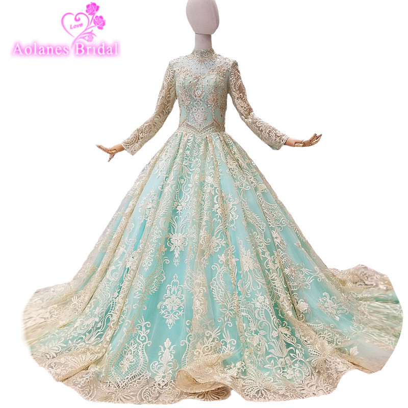 2018 Luxury Long Sleeves Lace O-neck Court Train Floor-length Pregnant Bridal Gowns Lace Up Ball Gown Illusion Wedding Dresses