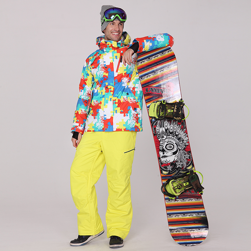 Gsou Snow Mens Ski Suit Male Snowboarding Suit Skiwear Winter Yellow And Blue Skiing Jacket And Yellow Pants Set Waterproof
